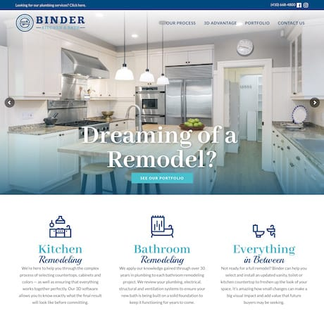 Binder Kitchen and Bath website