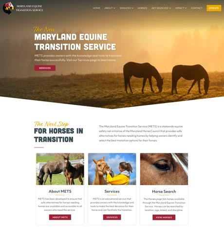 Maryland Equine Transition Service website